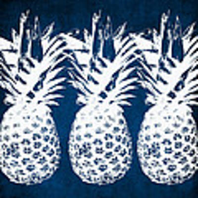 Indigo And White Pineapples Art Print