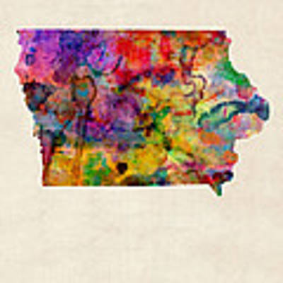 Iowa Watercolor Map Art Print