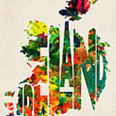 Ireland Typographic Watercolor Map Art Print by Inspirowl Design