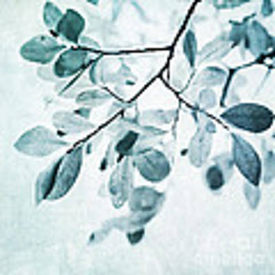 Leaves In Dusty Blue Art Print
