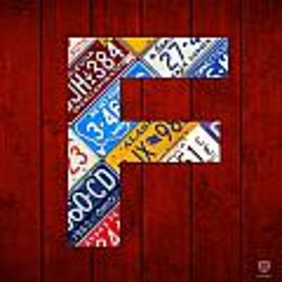 Letter F Alphabet Vintage License Plate Art Art Print