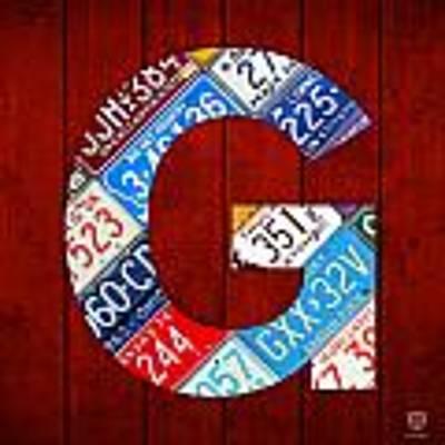 Letter G Alphabet Vintage License Plate Art Art Print