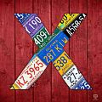 Letter X Alphabet Vintage License Plate Art Art Print