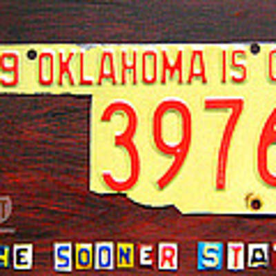License Plate Map Of Oklahoma By Design Turnpike Art Print by Design Turnpike