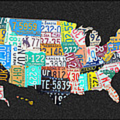 License Plate Map Of The United States On Gray Felt With Black Box Frame Edition 14 Art Print
