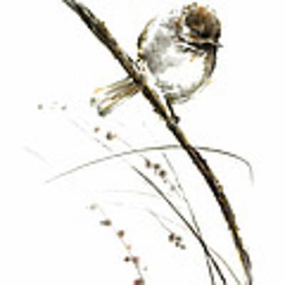 Little Bird On Branch Watercolor Original Ink Painting Artwork Original by Mariusz Szmerdt