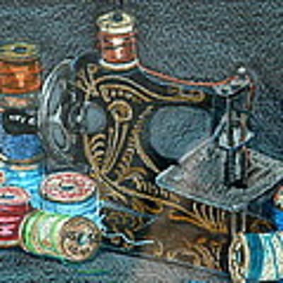 Little Sewing Machine And Thread Original by Joseph Hawkins