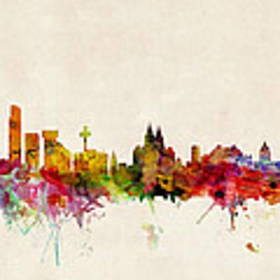 Liverpool England Skyline Art Print by Michael Tompsett