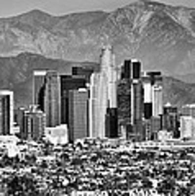 Los Angeles California Skyline - Black And White Art Print by Gregory Ballos