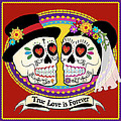 Los Novios Sugar Skulls Original by Tammy Wetzel