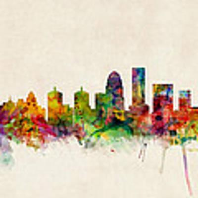 Louisville Kentucky City Skyline Art Print by Michael Tompsett