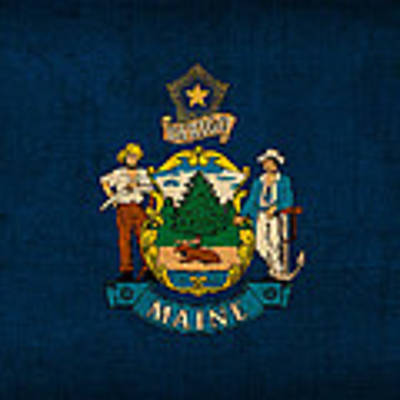 Maine State Flag Art On Worn Canvas Art Print by Design Turnpike