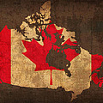 Map Of Canada With Flag Art On Distressed Worn Canvas Art Print