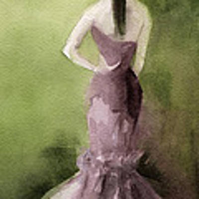 Mauve Evening Gown Fashion Illustration Art Print Art Print by Beverly Brown