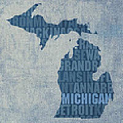 Michigan Great Lake State Word Art On Canvas Art Print