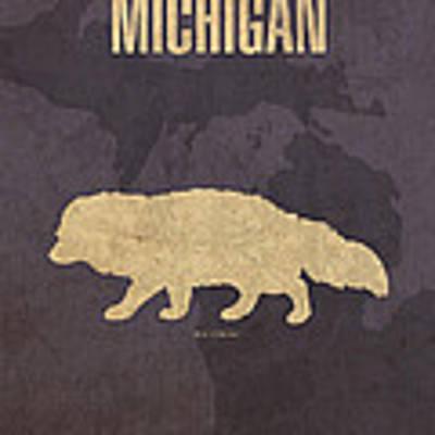 Michigan State Facts Minimalist Movie Poster Art  Art Print