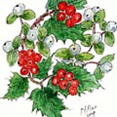 Mistletoe And Holly Wreath Art Print