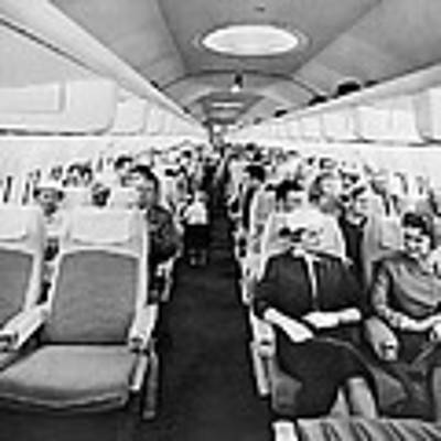 Model Of Boeing 707 Cabin Art Print by Underwood Archives