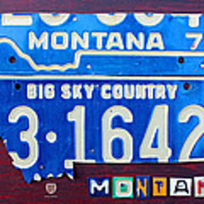Montana License Plate Map Art Print