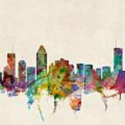 Montreal Skyline Art Print by Michael Tompsett