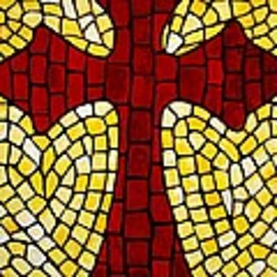 Mosaic Red Cross Art Print by Cynthia Amaral