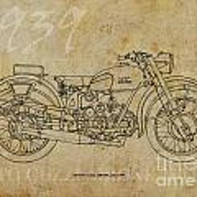 Moto Guzzi Airone 250 1939 Art Print by Drawspots Illustrations