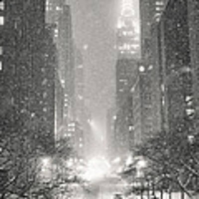 New York City - Winter Night Overlooking The Chrysler Building Art Print by Vivienne Gucwa