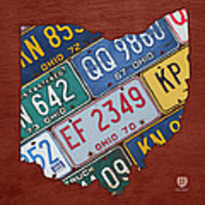 Ohio State Map Made Using Vintage License Plates Art Print by Design Turnpike