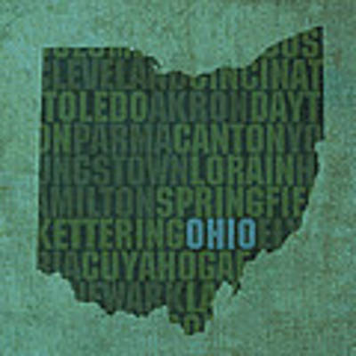 Ohio State Word Art On Canvas Art Print