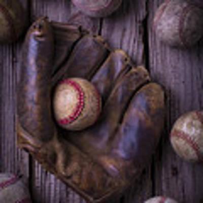 Old Mitt And Worn Baseballs Art Print
