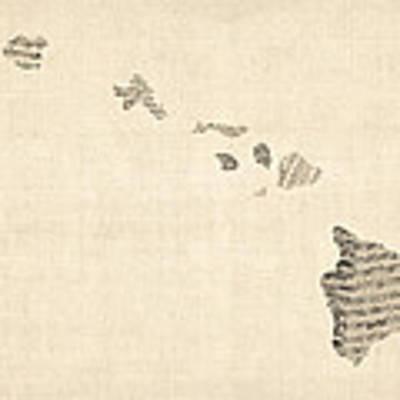 Old Sheet Music Map Of Hawaii Art Print