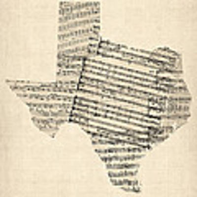 Old Sheet Music Map Of Texas Art Print by Michael Tompsett