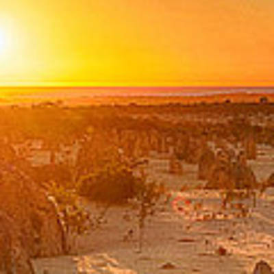 Panoramic Photo Of Sunset At The Pinnacles Art Print by Yew Kwang