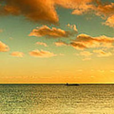 Panoramic Photo Sunrise At Monky Mia Art Print by Yew Kwang