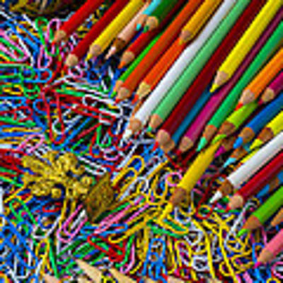 Pencils And Paperclips Art Print