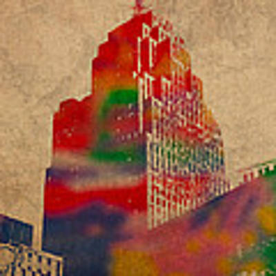 Penobscot Building Iconic Buildings Of Detroit Watercolor On Worn Canvas Series Number 5 Art Print
