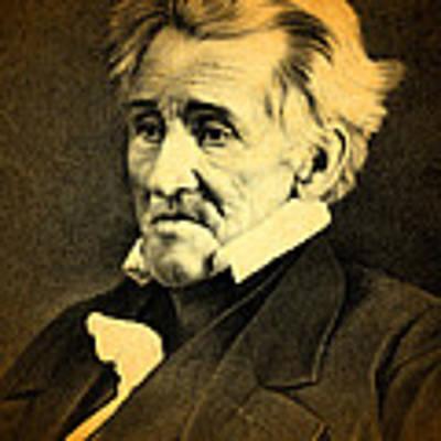 President Andrew Jackson Portrait And Signature Art Print