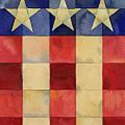 Quilted Flag Vertical Art Print