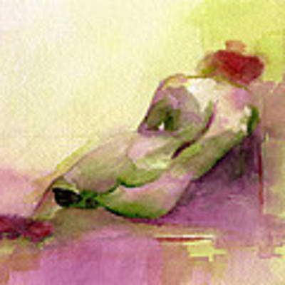 Reclining Woman Magenta Green And Orange Watercolor Painting Art Print by Beverly Brown