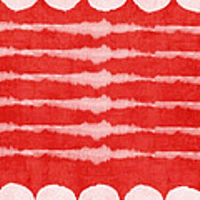 Red And White Shibori Design Art Print by Linda Woods