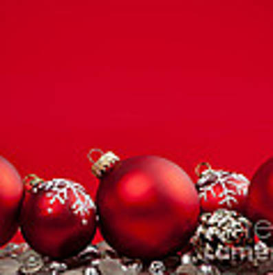 Red Christmas Baubles And Decorations Art Print