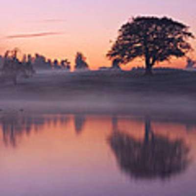 Reflections In A Lake At Dawn / Maynooth Art Print by Barry O Carroll