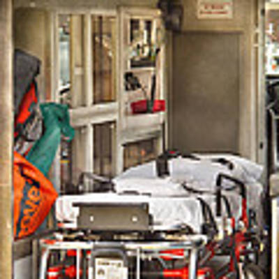 Rescue - Inside The Ambulance Art Print by Mike Savad