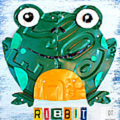 Ribbit The Frog License Plate Art Art Print