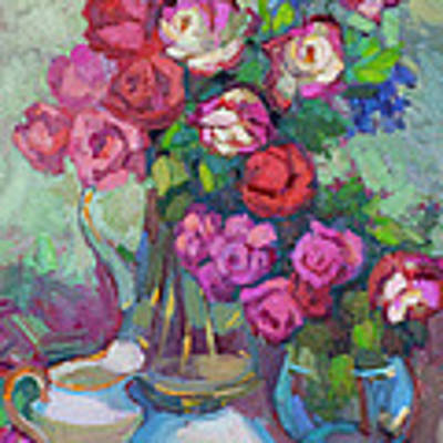 Roses In Two Vases Original by Diane McClary