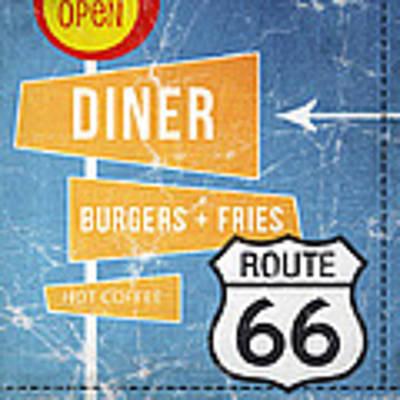 Route 66 Diner Art Print by Linda Woods
