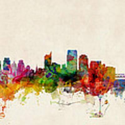 Sacramento California Skyline Art Print by Michael Tompsett