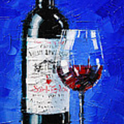 Still Life With Wine Bottle And Glass II Original by Mona Edulesco