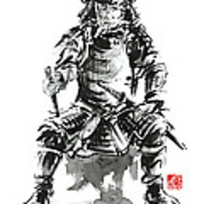 Samurai Sword Bushido Katana Armor Silver Steel Plate Metal Kabuto Costume Helmet Martial Arts Sumi- Art Print