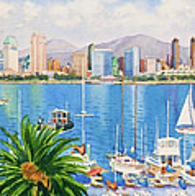 San Diego Skyline Original by Mary Helmreich